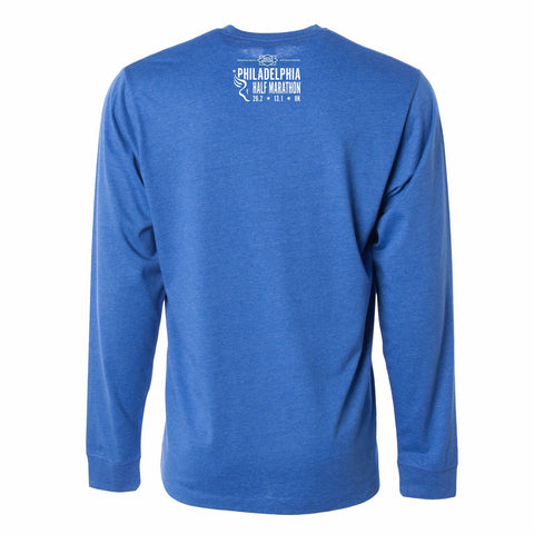 Men's LS CVC Tee -Royal Heather 'Left Chest Print Design' - Dietz & Watson Philadelphia Half Marathon