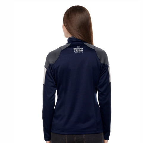 Women's Colorblock Tech 1/2 Zip -Classic Navy 'Left Chest Print Design' - Dietz & Watson Philadelphia Half Marathon