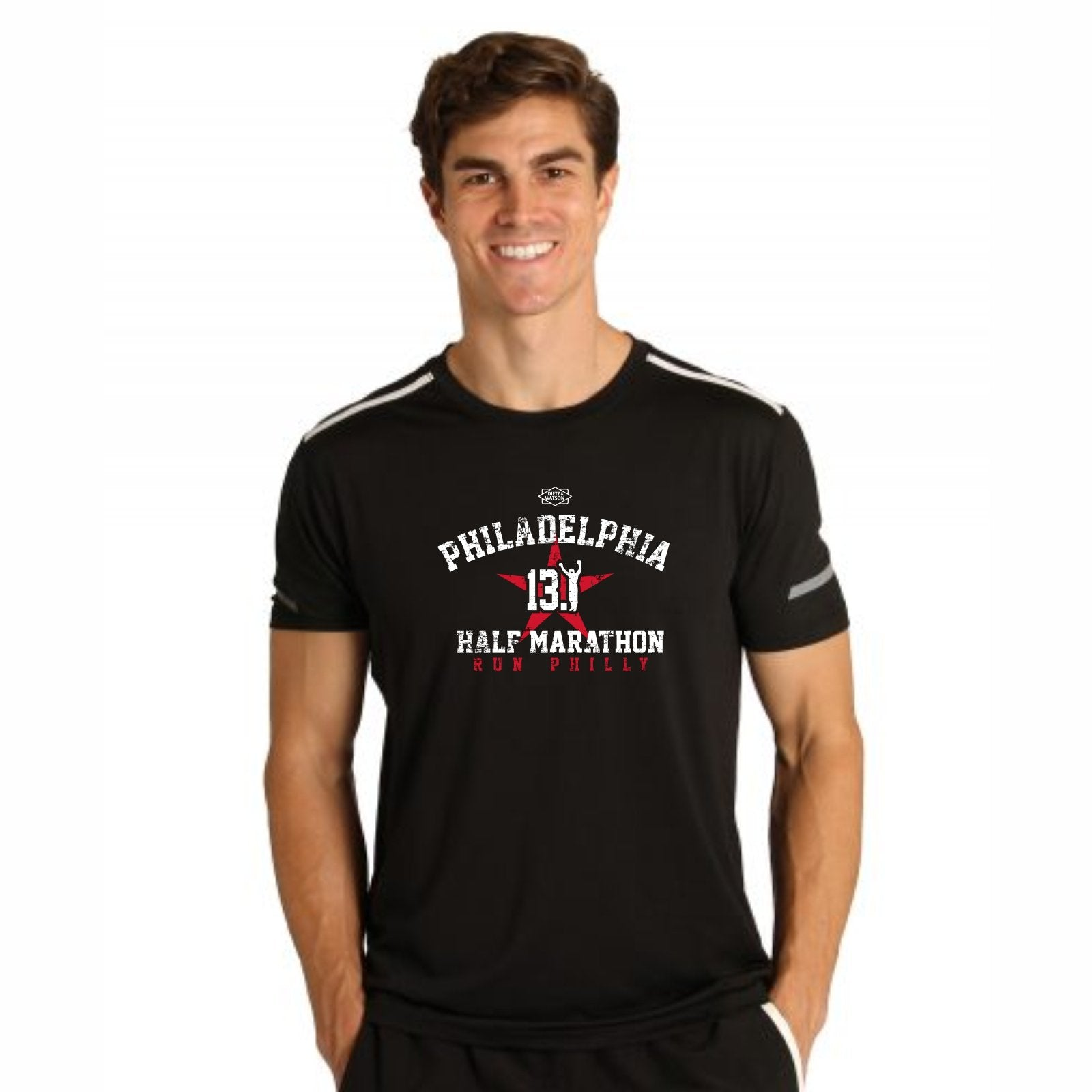 Men's SS Colorblock Tech Tee -Black 'Arch Design' - AACR Philadelphia Marathon