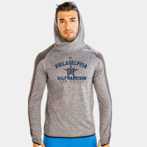 Men's Raglan Two-Tone Lightweight Hoody -Heathered Grey/Charcoal 'Arch Design' - AACR Philadelphia Marathon