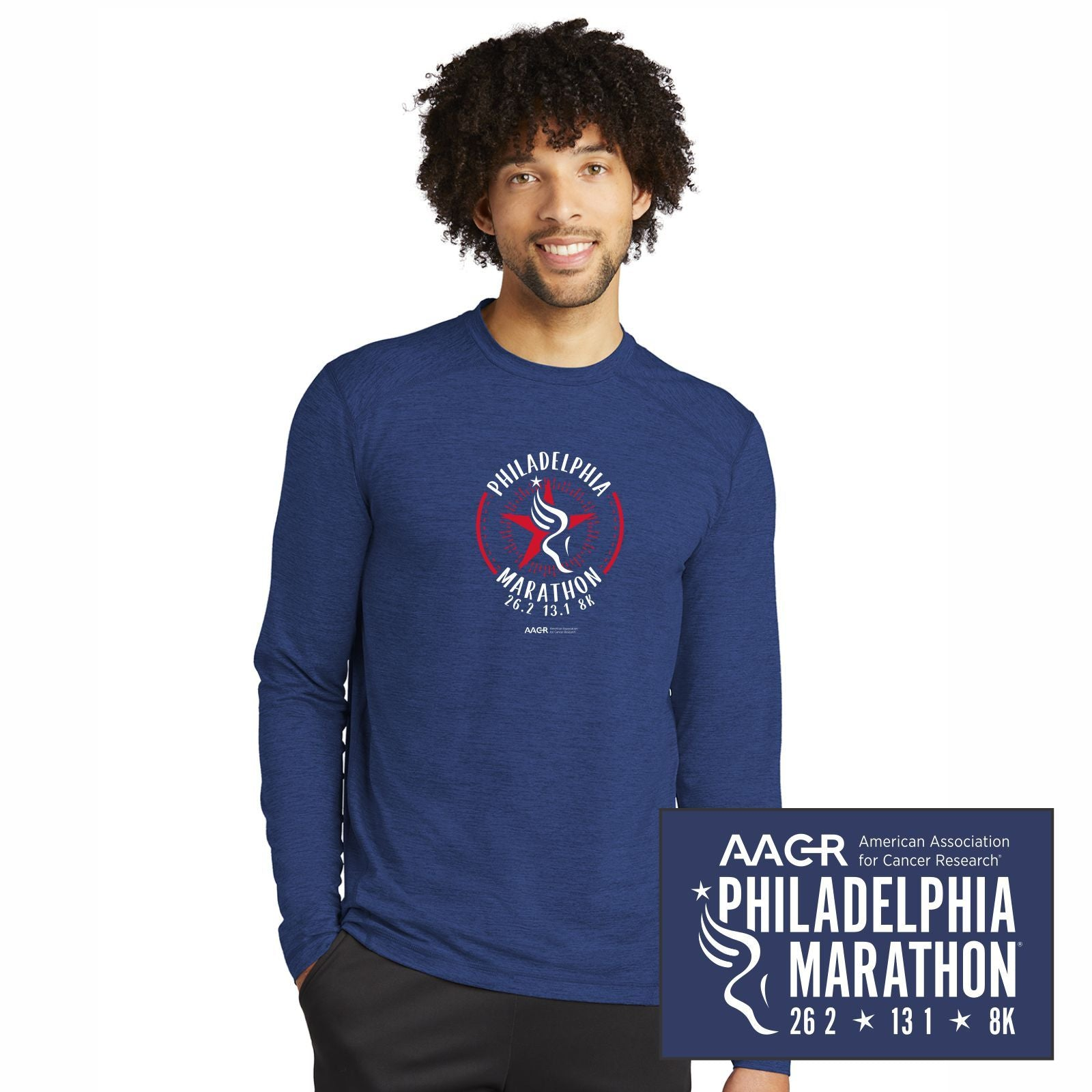 Men's LS Poly/Spandex Tee - True Royal Heather 'Round' Design - AACR Philadelphia Marathon