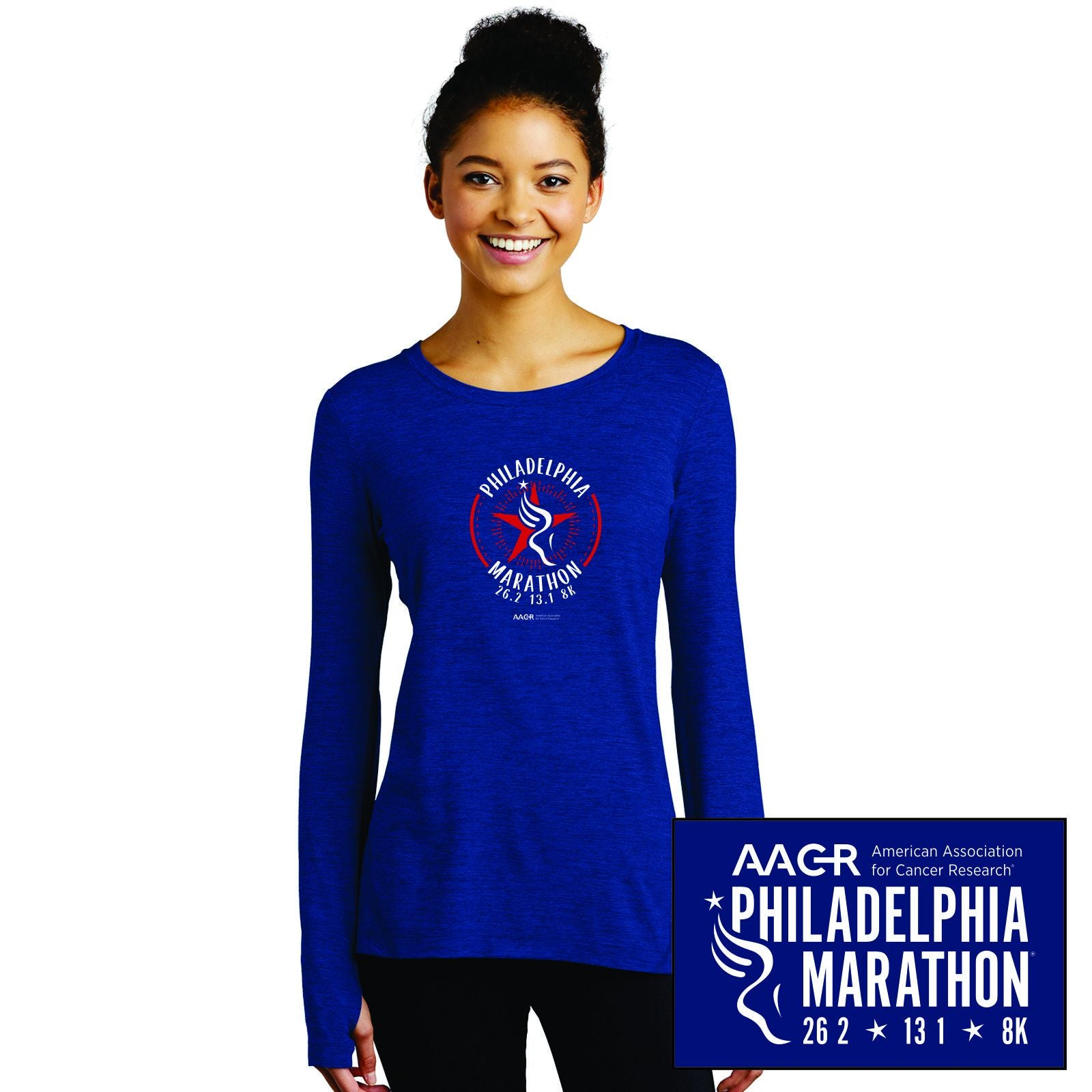 Women's LS Thumbhole Tee - True Royal Heather 'Round' Design - AACR Philadelphia Marathon