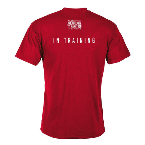 Men's SS Tech Tee - Athletic Red Heather 'In Training 2020 Design' - AACR Philadelphia Marathon
