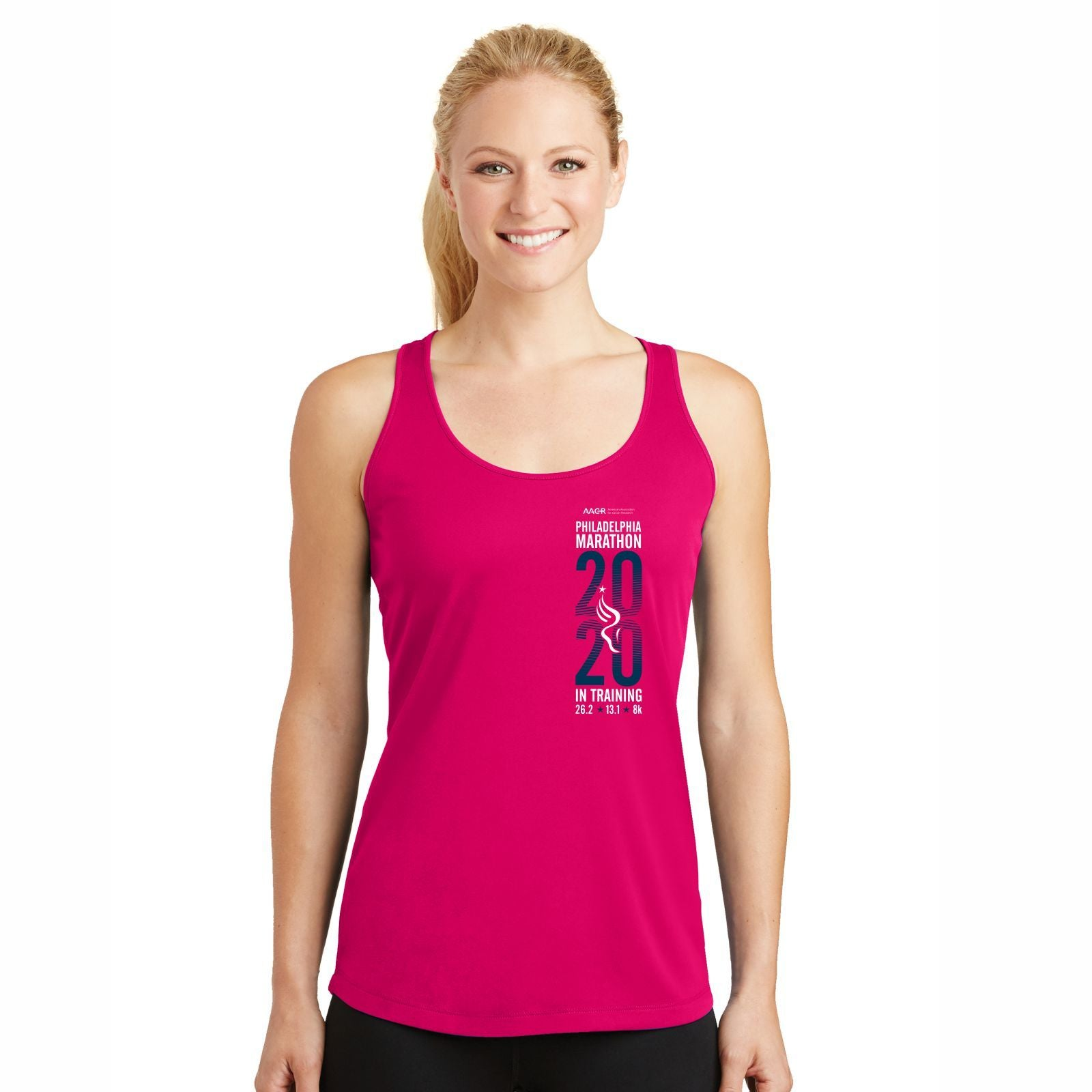 Women's Racerback Tech Singlet - Pink Raspberry 'In Training 2020 Design' - AACR Philadelphia Marathon