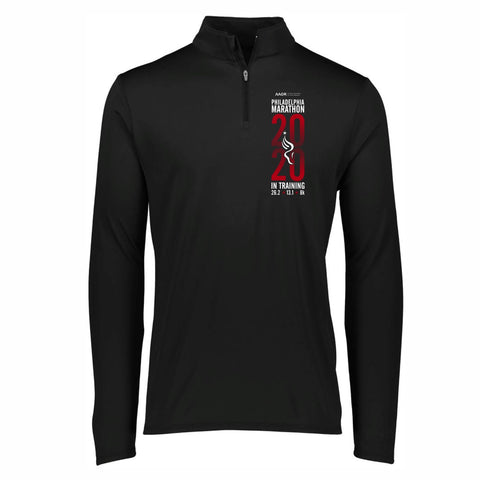 Men's Tech 1/4 Zip -Black 'In Training 2020 Design' - AACR Philadelphia Marathon