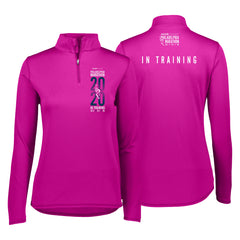 Women's Tech 1/4 Zip -Power Pink 'In Training 2020 Design' - AACR Philadelphia Marathon