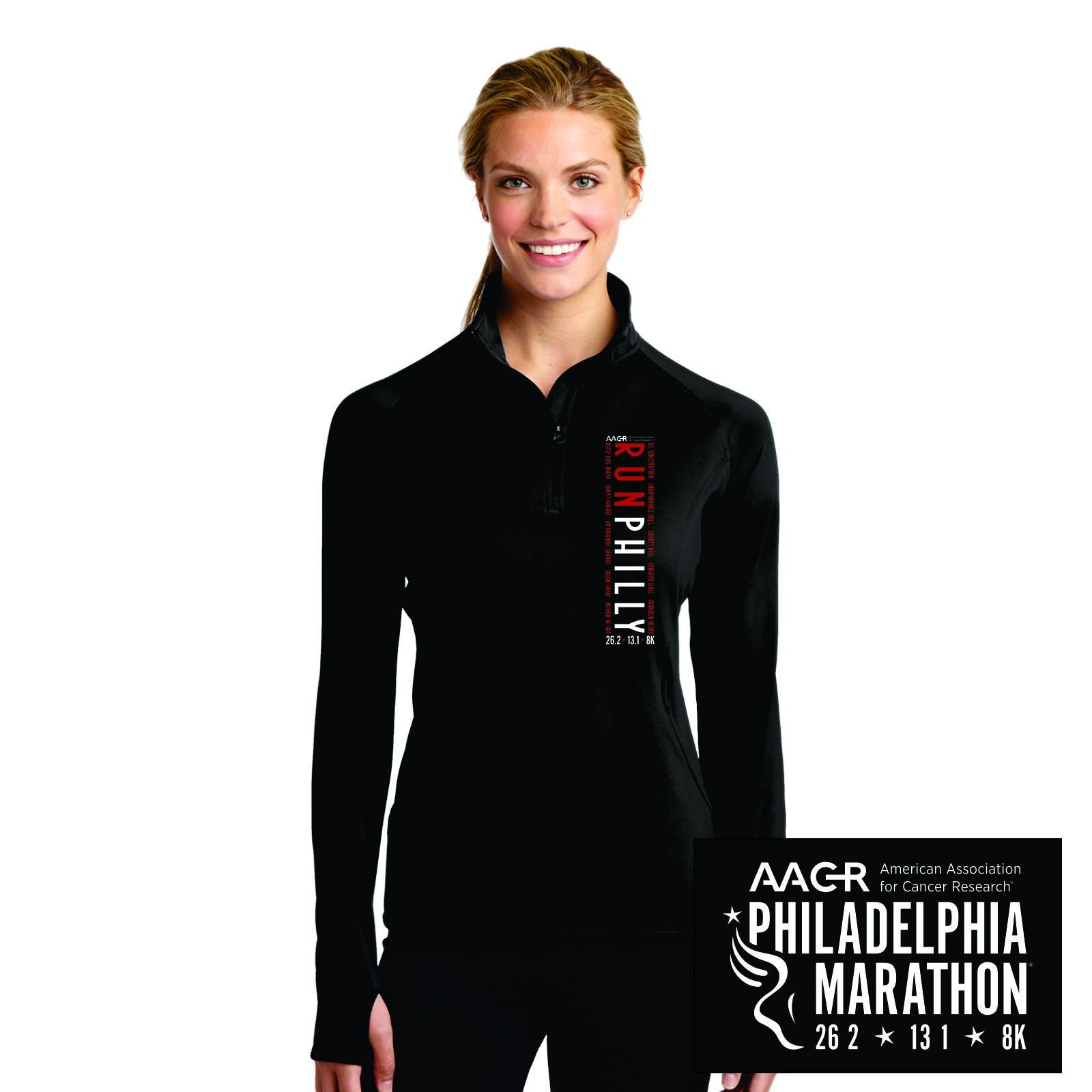 Women's Thumbhole Stretch 1/2 Zip - Black 'LCP Vertical' Design - AACR Philadelphia Marathon