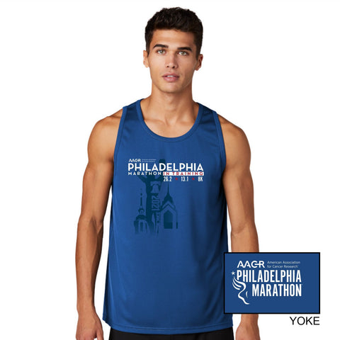 Men's SS Tech Tee - Navy 'In Training 2021' Design - AACR Philadelphia Marathon