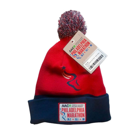 AACR Philadelphia Marathon ''Big Foot'' Pom-Pom Acrylic Beanie - Red / Navy