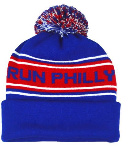 Pom-Pom Beanie - Royal / Scarlet / White 'Run Philly' Design - AACR Philadelphia Marathon