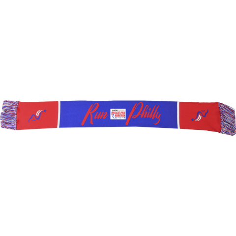 "Woven 54""x8""Scarf with Tassels- Royal / Scarlet / White 'Run Philly / Foot' Design - AACR Philadelphia Marathon"