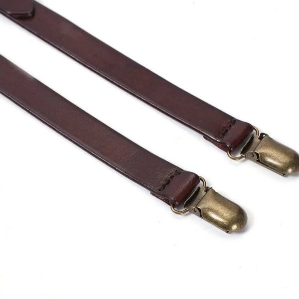 Handmade Vintage Genuine Leather Suspenders - Coffee - Blue Sebe