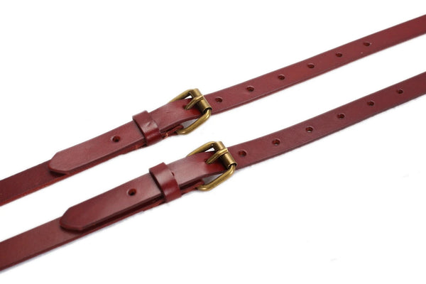 Handmade Vintage Genuine Leather Suspenders - Reddish Brown - Blue Sebe Handmade Leather Bags