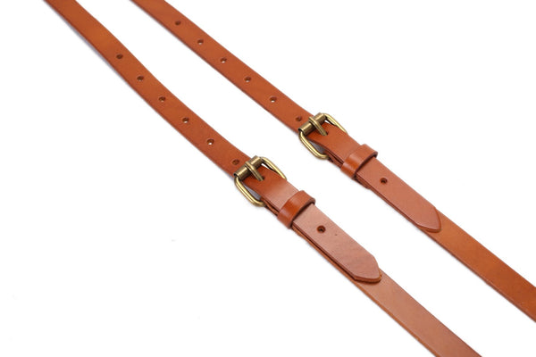 Handmade Vintage Genuine Leather Suspenders - Yellow Brown - Blue Sebe