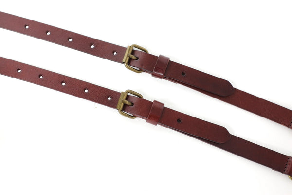 Handmade Vintage Genuine Leather Suspenders With Hook Clips - Reddish Brown - Blue Sebe Handmade Leather Bags