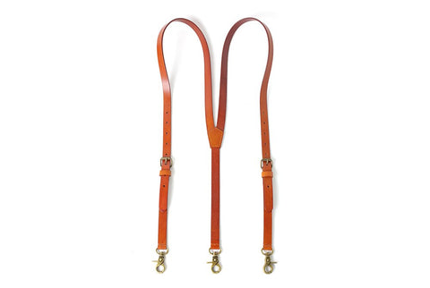 Handmade Vintage Genuine Leather Suspenders With Hook Clips - Tan Brown - Blue Sebe