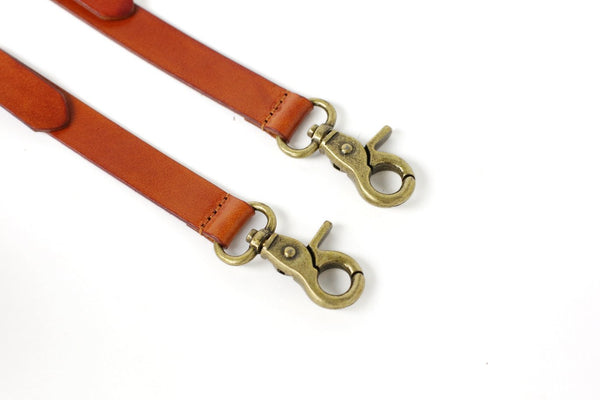 Handmade Vintage Genuine Leather Suspenders With Hook Clips - Tan Brown - Blue Sebe Handmade Leather Bags