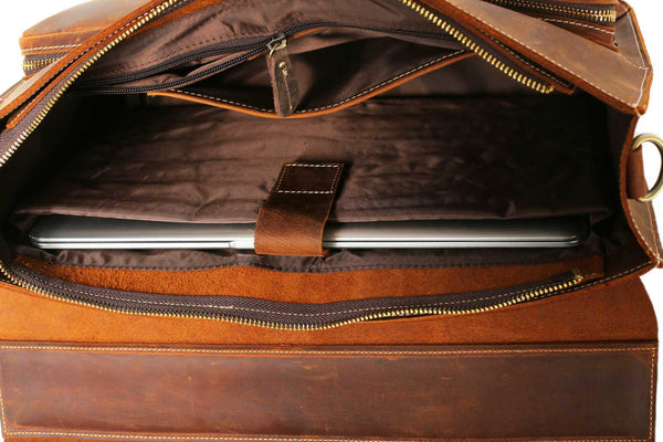 Handmade vintage full grain leather briefcase/messenger bag - Blue Sebe Handmade Leather Bags