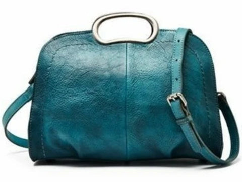 Handmade Vegetable Tanned Full Grain Leather Satchel Handbag - Blue Sebe Handmade Leather Bags