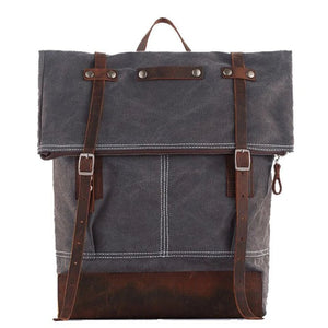 Waxed Canvas School Backpack with Leather Trim - Blue Sebe Handmade Leather Bags