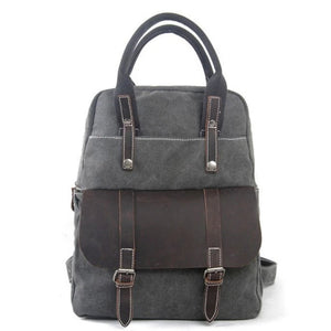 Waxed Canvas  School Backpack Top Handle Handbag - Blue Sebe