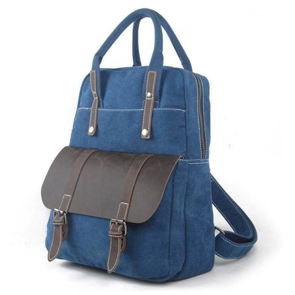Waxed Canvas  School Backpack Top Handle Handbag - Blue Sebe Handmade Leather Bags