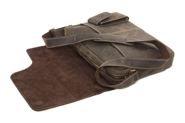"Handmade Vintage Genuine Leather 13"" Messenger Bag 