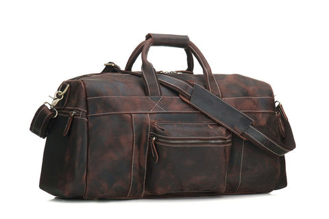 Handmade Retro Genuine Leather Travel Bag - Dark Brown - Blue Sebe