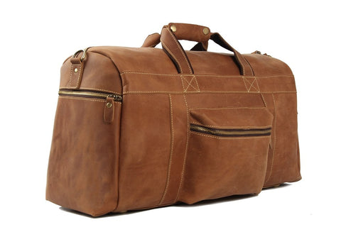 Handmade Retro Genuine Leather Travel Bag - Vintage Brown - Blue Sebe