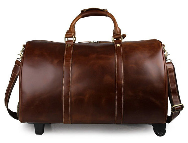 Handmade Vintage Full Grain Leather Large Travel Bag With Wheels - Blue Sebe