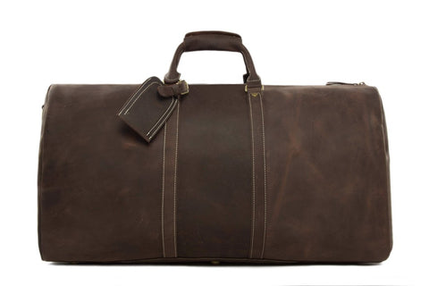 Handmade Vintage Full Grain Leather Large Duffle Travel Bag - DB - Blue Sebe