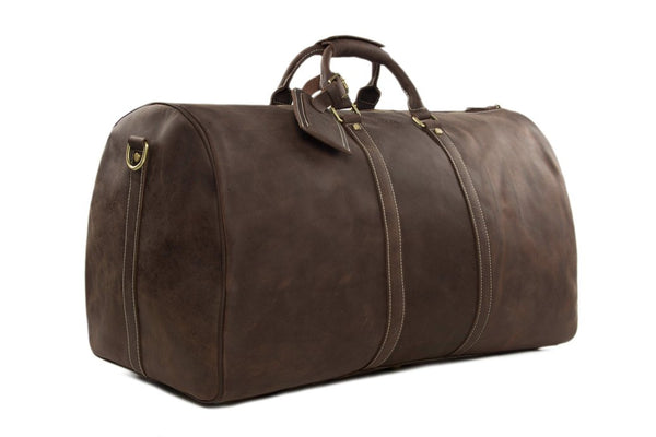 Handmade Vintage Full Grain Leather Large Duffle Travel Bag - DB - Blue Sebe Handmade Leather Bags