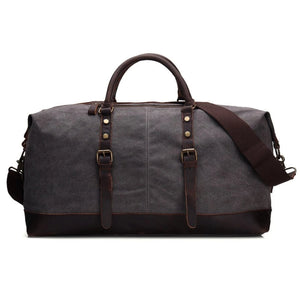 Handmade Waxed Canvas with Leather Trim Holdall Travel Duffle Bag - Blue Sebe Handmade Leather Bags