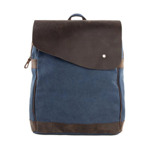 Handmade Canvas with Leather School Backpack | Blue - Blue Sebe Handmade Leather Bags