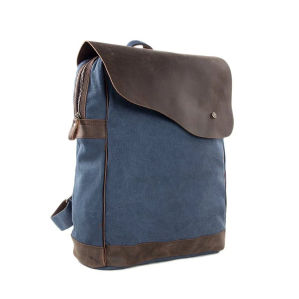 Handmade Canvas with Leather School Backpack - Blue - Blue Sebe