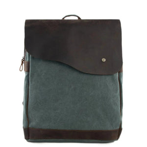 Handmade Canvas with Leather School Backpack | Olive Green - Blue Sebe Handmade Leather Bags