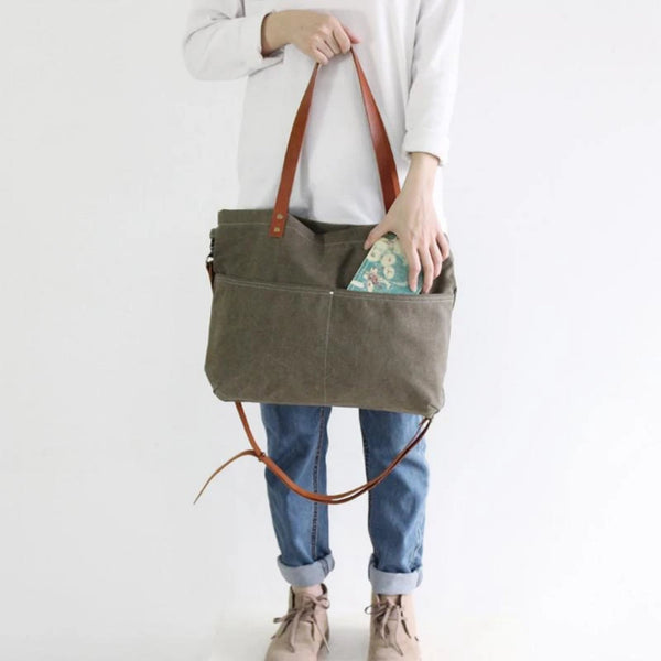 Waxed Canvas with Leather Women Tote Handbag - Blue Sebe