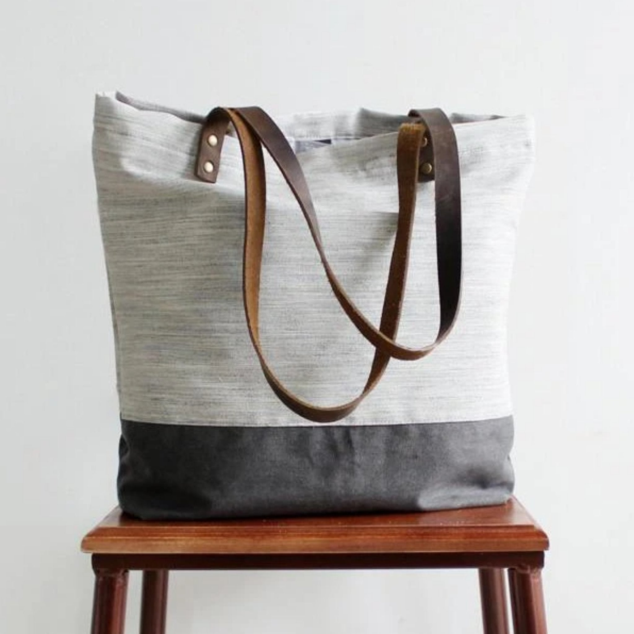 Handmade Canvas Women's Tote Handbag | White with Grey - Blue Sebe Handmade Leather Bags