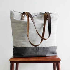 Handmade Canvas Women's Tote Handbag | White with Grey - Blue Sebe