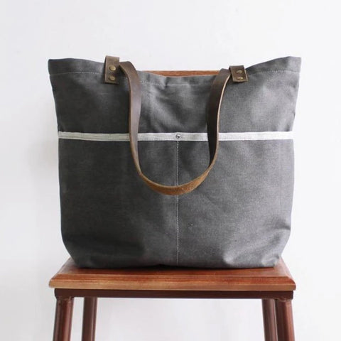 Waxed Canvas Grey Tote Shoulder Bag with Leather Handle - Blue Sebe