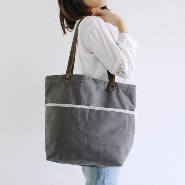 Waxed Canvas Grey Tote Shoulder Bag with Leather Handle - Blue Sebe Handmade Leather Bags