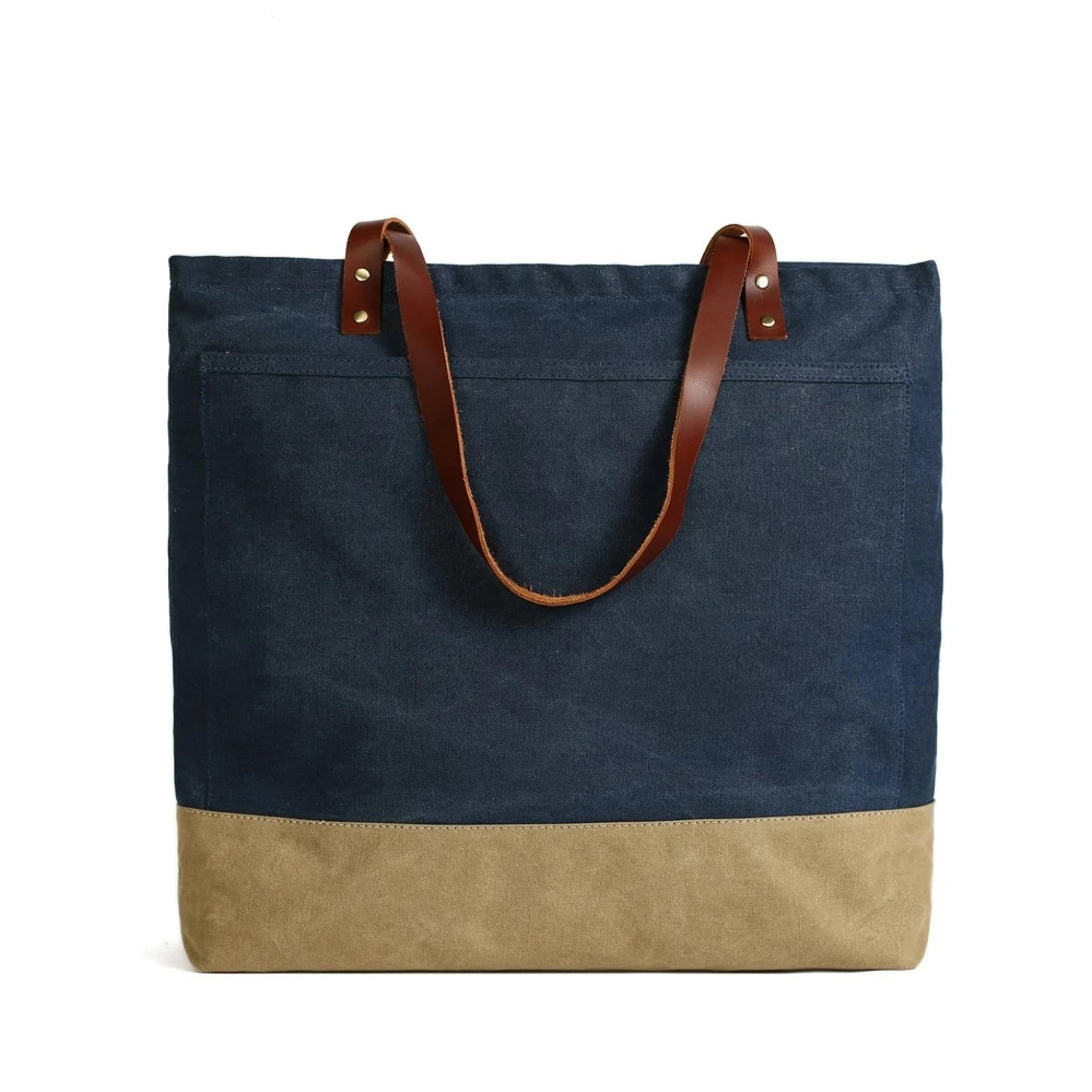 Handmade Canvas Tote Bag with Leather Handle - Blue Sebe
