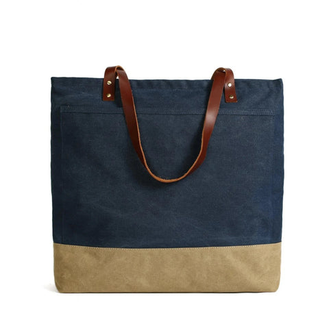Handmade Canvas Tote Bag with Leather Handle - Blue Sebe Handmade Leather Bags