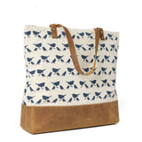 Handmade Canvas with Leather Trimming Women's Tote Bag - Blue Sebe