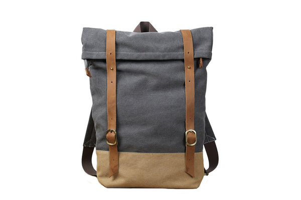 Handmade Minimalist Canvas Leather Grey Backpack - Blue Sebe Handmade Leather Bags