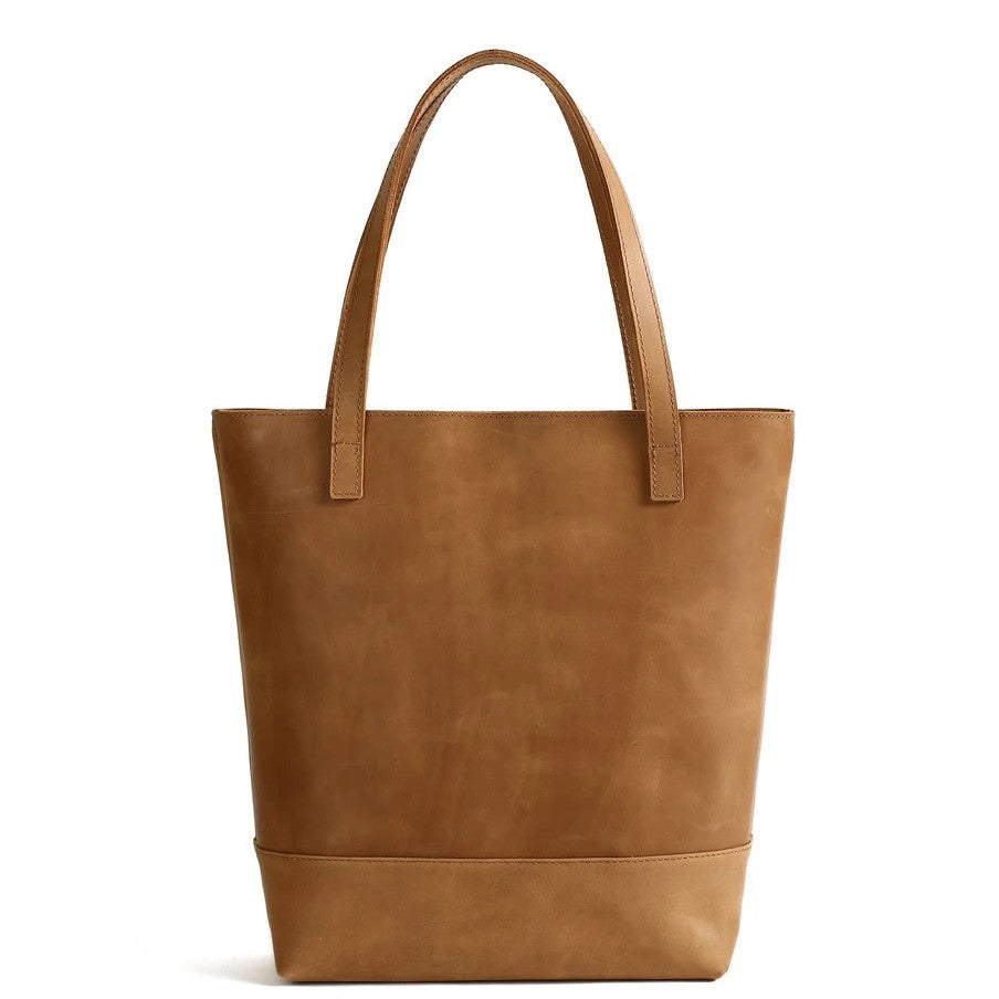 Handmade Vegetable Tanned Leather Tote Bag - Simple 1 - Blue Sebe