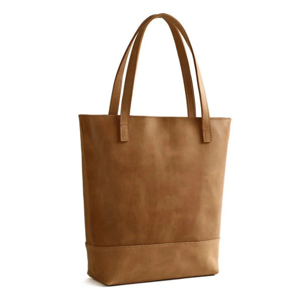 Handmade Vegetable Tanned Leather Tote Bag - Simple 1 - Blue Sebe Handmade Leather Bags