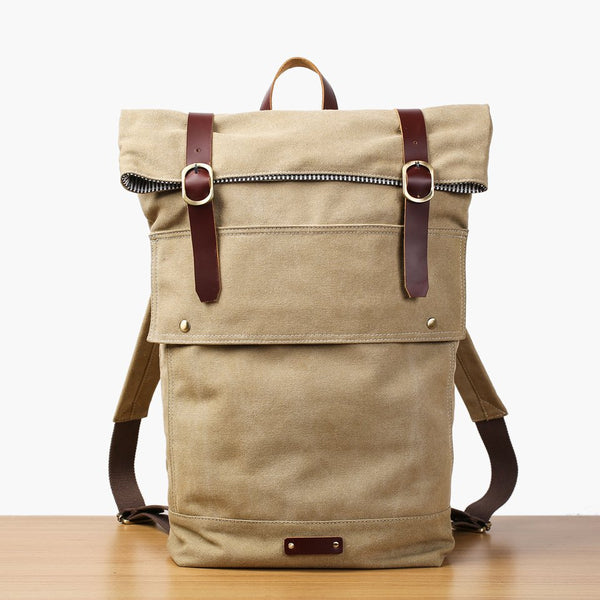Handmade Minimalist Canvas Leather Backpack - Blue Sebe