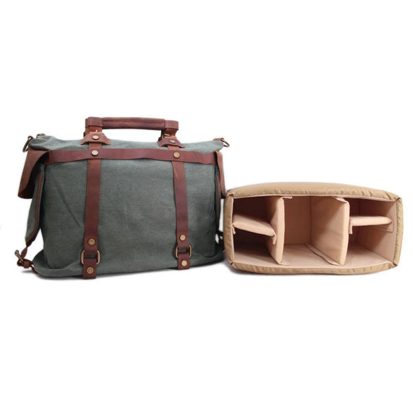 Waxed Canvas with Leather Trim Large DSLR Camera Satchel Bag - Blue Sebe Handmade Leather Bags