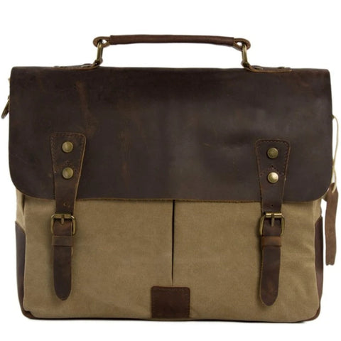 Handmade Waxed Canvas & Leather Satchel Messenger Bag - Khaki/Coffee - Blue Sebe